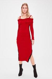 Trendyol Burgund Pullover Kleid TWOAW20EL1177 Trendyol Burgund Pullover Kleid TWOAW20EL1177