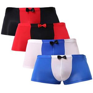 Mens Sexy Briefs Silk Unterwäsche glatt Trunks Bikini Male Boxer Briefs Fashion Unterwäsche Sexy Bow lose Größe M-2XL B151