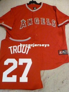 Cheap baseball #27 MIKE TROUT Sewn shirt JERSEY RED Mens stitched jerseys Big And Tall SIZE XS-6XL For sale