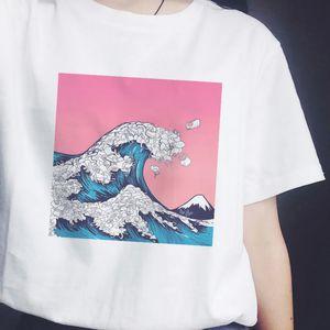 Aesthetic Views 프린트 T 셔츠 여성용 반팔 티셔츠 Starry Sky Waves 빈티지 Tumblr 한국 의류 Tee Shirt Femme