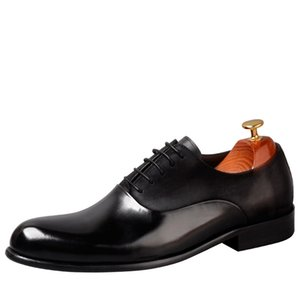 Italian Fashion Men Dress Shoes Genuine Leather High Quality Cow Leather Lace Up Black Wine Red Office Shoes Oxfords Men Shoes