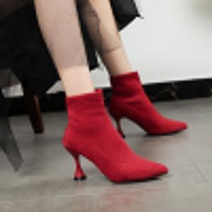 Hot venda- elásticas Meias botas de inverno feminina outono botas sapatos novos pointed toe salto stiletto alta tornozelo mulheres mulheres