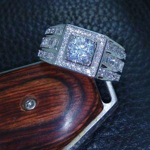 Key4fashion Free hot Celebrity design Rhythmic Harmony Men 10KT White Gold Filled Topaz simulated diamond Wedding Ring Sz 7-13 free shipping