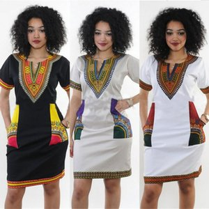 Africa National Style Print Dresses Woman Summer Retro Short Sleeve Dashiki Riche Bazin S-3XL V-neck African Clothing For Women
