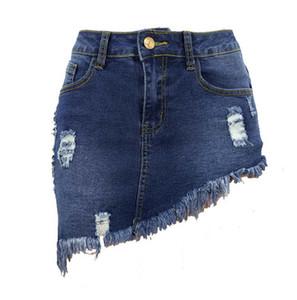 Donne Short Denim Dress Skirt Ripped Hole Nappe Alta elastico Jeans a vita media Ginocchia Lunghezza Gonne A-line Casual Donna Spedizione gratuita