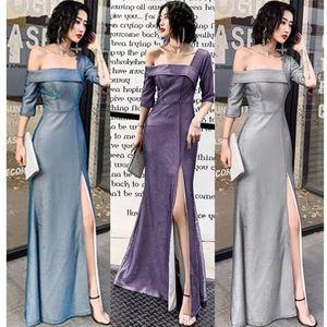 Jahrestagung Abendkleid 2020 neuer Winter lang Bankett Host-ein-Schulter-Kleid Temperament Toast Kleidung weiblich