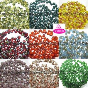 lot gros 1300pc mélange 9 cordes 4 mm verre cristal à facettes bracelet ou un collier de perles