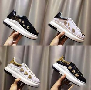 Nova moda estilo abelha venda quente marca top quality modelo rainha shoes lace sneakers mulheres couro genuíno ocasional casal shoes eur35-40