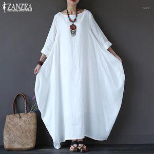 Zanzea 2019 Sundress pour femmes Vintage Linge Linge Robe longue Femme Beach Fête Maxi Robe Batwing Sleeve Baggy Vestidos Kaftan Robe1