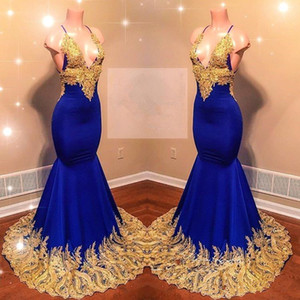 2020 Spaghetti Straps Satin Mermaid Long Prom Dresses Royal Blue Lace Applique Backless Sweep Train Formal Party Evening Gowns