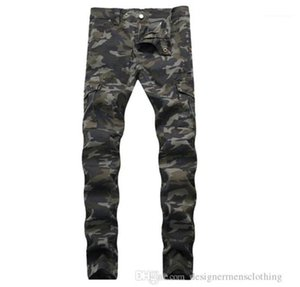 Pockets Mens Straight Jeans With Zipper Fashion Male Apparel Wrinkled Slim Mid Waist Men Jeans Army Green