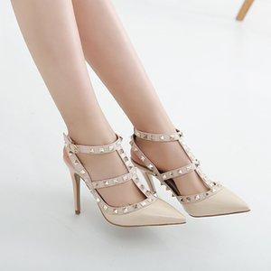Tek ayakkabı çanta kafası askısı vernikli lyudine sandalet kadın CS09 ile 34-43 büyük Avrupa istasyon perçin sivri yüksek topuklu