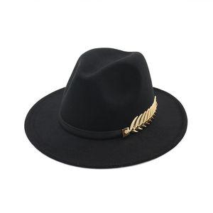 Avrupa ve Amerikan Yeni Büyük Şapkalar Moda Metal Yapraklar Bayanlar Yün Şapka Caz Şapkalar İngiliz Retro Şapka Kadın Gelgit