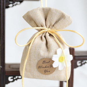 Best Wish For You Cotton Linen Lavender Sachet Bag Small Tea Pouch Bedroom Deodorant Package Bridal Shower Favor Gift Bag