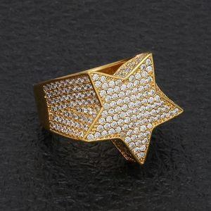 힙합 남성의 보석 반지 5 점 스타 블링 반지 아이스 아웃 지르콘 패션 힙합 로즈 골드 실버 반지