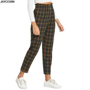 JAYCOSIN 바지 패션 여성 높은 허리에 격자 인쇄 긴 바지 캐주얼 바지 레깅스 Fitnes 운동 9506