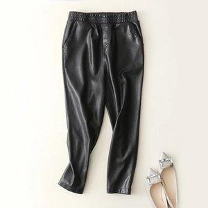 Pelle modelle nero Faux jogging Loose Women Jogger Pantaloni Hip Hop Street Wear Harem caviglia pantaloni V200331