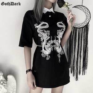 Goth Dragon noir Imprimer Vintage Gothic Femme T-shrits printemps 2020 EGirl grunge punk Emo Y2K Aesthetic Harajuku T-shirt Femmes Chic T200330
