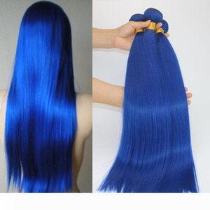 Human Hair Extensions 9A Hot Bright Electric Blue Colorful Human Hair Weaves Brazilian Straight Virgin Hair 100gram piece Best Quality