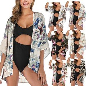 Women Floral Suntan Cardigan Coat Batwing Sleeve Blouse Cover Summer chiffon Beach Cape Bikini Cover-Ups Loose Kimono Beachwear