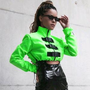 Mujeres corto chaquetas de la cremallera delgada del otoño fresco abrochar la capa de cuello alto Outwear causal básico Famale neón ropa de la manera chaqueta verde