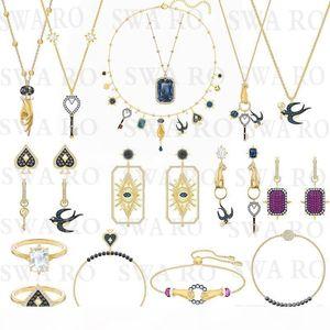 New TAROT MAGIC Necklace Set Mysterious Symbol Lucky Swallow, Devil's Eye, Key, Spades Female Jewelry Fashion Set Gift