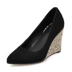 2019 Nuevas Mujeres Elegantes Flock Pumps Altas Cuñas de Gran Tamaño 34-43 Primavera Sexy Shallow Mujeres Zapatos Mujer Tacón alto