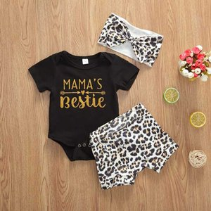 0-24M recente del bambino dei ragazzi delle neonate copre gli insiemi 3pcs Lettera pagliaccetto Tops + Shorts + leopardo fascia abiti estivi