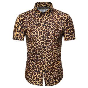 Camisas de moda de manga corta para hombre Miicoopie con estampado de leopardo para verano Camisas de hombre con estampado de leopardo de moda casual