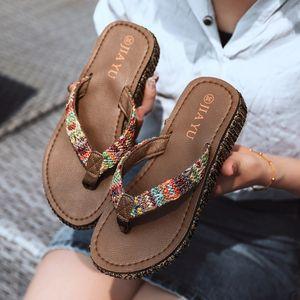 WEIBATE Verão Senhoras Chinelos Outdoor flip-flops Lazer Tendência flip-flops Woven Praia Shoes Boho Estilo antiderrapante deslizador
