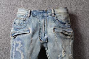 """Jeans da uomo classici da 17 """"in stile SS Moda Jeans di alta qualità blu attillati attillati strappati Jeans da strada biker distrutti 29-40"""