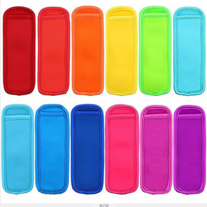 Çocuklar Yaz Mutfak Aletleri AC1119 için donma Popsicle Çanta Dondurucu Popsicle Sahipleri Yeniden kullanılabilir Neopren Yalıtım Buz Pop Kollu Çanta