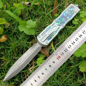 New Arrival Micro-T knife Double Action Automatic knife Abalone shell beetles handle Damascus steel Outdoor Pocket tactical knives A16 A07