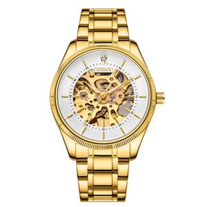 CHENXI Mode-Marken-Uhren Männer Skeleton Dial-automatische mechanische Uhr 001 Gold-Skeleton Weinlese-Mann Geschäfts-Armbanduhr