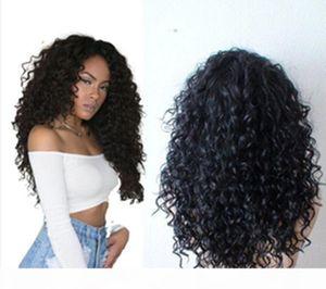 C Livraison gratuite naturels de haute qualité couleur longue Kinky Curly avec bébé cheveux résistant à la chaleur Glueless homme Perruques Lace Front cheveux pour Noir