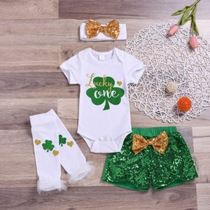 Imcute St Patricks Day Baby Girls Boys Outfits Clothes Clover Romper Tops+Sequins Shorts Set 4Pcs 0-18M
