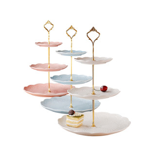 Fashionable European style 3 Tier Cake Plate Stand Handle Fitting Silver Gold Wedding Party Crown Rod