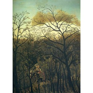 Modern oil paintings Landscapes art Rendez Vous in the Forest Henri Rousseau animal picture Handmade wall decor