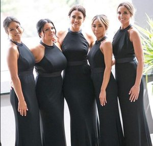 Sexy Black Mermaid Bridesmaid Dresses Halter Neck Sleeveless Wedding Guest Gowns Floor Length Satin Formal Maid of Honor Dress Plus Size