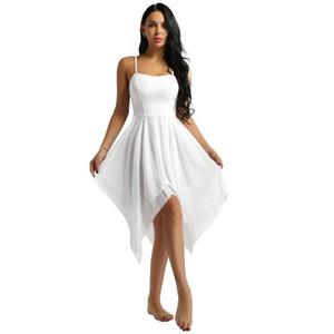 Kadınlar Spagetti sapanlar Asimetrik Şifon Latin Balesi Giyim Modern Ballroom Elbise Sahne Performansı Lirik Dans Kostüm