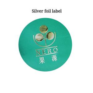 prata personalizado carimbar etiqueta logotipo redonda fosco prata papel alumínio private label adesivo fosco em promoção com alta qualidade