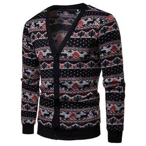 Pulls Cardigan manches longues en tricot Hommes Tops imprimés d'hiver Les hommes Vêtements pour hommes Milu cerfs communs