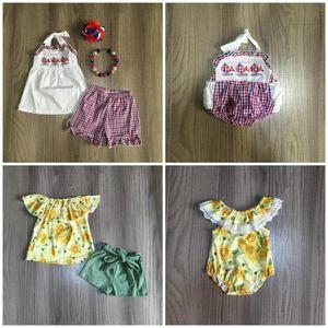 Girlymax 자매 여자 아기 옷은 여름면을 주름 해바라기 고래 체크 무늬 반바지 일치 액세서리 장난 꾸러기 세트 옷