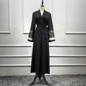 Vestido Negro Cardigan Robe Wepbel perla del cordón de la Mujer Árabe Musulmana elegante de manga larga Abaya Oriente Medio Dubai ropa islámica