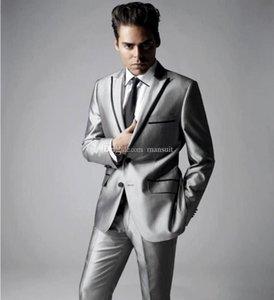 Красивый Groomsmen Пик нагрудные Groom Tuxedos Блестящий серебряный серый Мужские костюмы Свадебные / Prom Best Man Blazer / (куртка Жених + брюки + Tie) M393