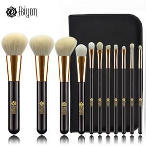 Feiyan Makeup Brushes Set 11pcs Face Foundation Powder Blush Eye Cosmetic brush Kit Professional natural goat hair With Bag Case