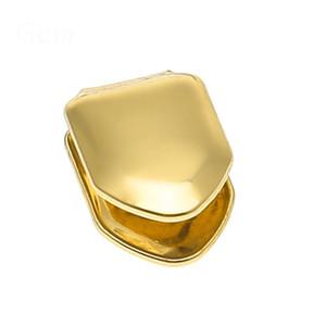 14K Gold überzogen Einzelzahn FANG Grill Cap Eckzähne für Mann Hip Hop Individuelle GRILLZ