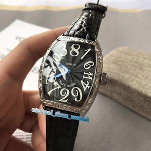 Brand new CRAZY HOURS New 8880 CH Black Dial Mecânico Automático Mens Watch Prata Esculpida Em Aço Caixa De Aço Pulseira De Couro Relógios De Alta Qualidade