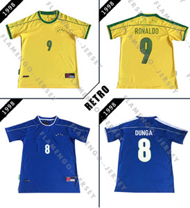 홈 멀리 브라질 복고풍 축구 유니폼 1998 월드컵 빈티지 클래식 축구 셔츠 노란색, 파란색 로날도 히바우두 둥가 RAI R.CARLOS