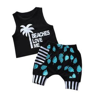 CYSINCOS 2020 Летняя мода малышей Baby Girl Boy Coconut Tree Tops жилет шорты 2шт Outfit Комплект одежды праздник Beachwear